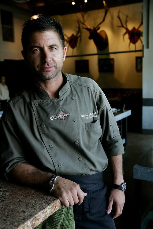TIJUANA, MEXICO: Chef Miguel Angel Guerrero Yagues stands in his restaurant La Querncia in Tijuana, Mexico.