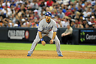 Aug. 6 2011; Phoenix, AZ, USA; Los Angeles Dodgers outfielder Andre Either (16) leads off first base during the sixth inning against the Arizona Diamondbacks at Chase Field. The Dodgers defeated the Diamondbacks 5-3.  Mandatory Credit: Jennifer Stewart-US PRESSWIRE..