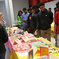 Lauren Wood | Buy at photos.djournal.com<br /> A class of Shannon High School freshman look at the 41 different entries in the Edible Book Festival as they vote for their favorite Friday morning at Shannon High School.