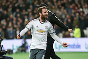 Juan Mata Midfielder of Manchester United celebrates his goal 0-1 during the Premier League match between West Ham United and Manchester United at the Stadium Queen Elizabeth Olympic Park, London, United Kingdom on 2 January 2017. Photo by Phil Duncan.