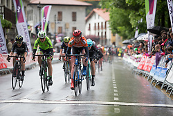 Katie Archibald (GBR) of Team WNT crosses the finish line of Stage 2 of the Emakumeen Bira - a 90.8 km road race, starting and finishing in Markina Xemein on May 18, 2017, in Basque Country, Spain. (Photo by Balint Hamvas/Velofocus)