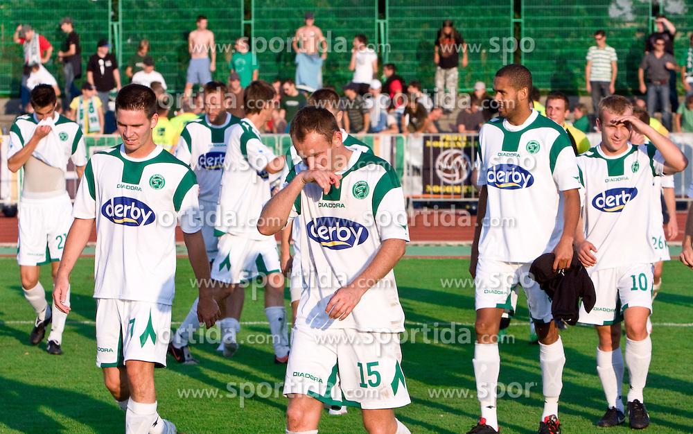 Olimpija's players  celebrate at the football match Interblock vs Olimpija in 10th Round of Prva liga 2009 - 2010,  on September 23, 2009, in ZSD Ljubljana, Ljubljana, Slovenia.  (Photo by Vid Ponikvar / Sportida)