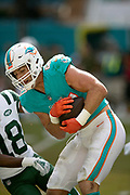 Miami Dolphins outside linebacker Kiko Alonso (47) intercepts a late first quarter pass that gives the Dolphins the ball at the New York Jets 43 yard line during the NFL week 9 regular season football game against the New York Jets on Sunday, Nov. 4, 2018 in Miami Gardens, Fla. The Dolphins won the game 13-6. (©Paul Anthony Spinelli)