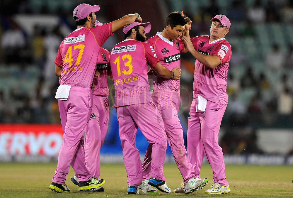 Trent Boult of Northern Knights celebrates the wicket of Stiaan van Zyl of Cape Cobras during match 3 of the Oppo Champions League Twenty20 between the Cape Cobras and the Northern Knights held at the Chhattisgarh International Cricket Stadium, Raipur, India on the 19th September 2014<br /> <br /> Photo by:  Pal Pillai / Sportzpics/ CLT20<br /> <br /> <br /> Image use is subject to the terms and conditions as laid out by the BCCI/ CLT20.  The terms and conditions can be downloaded here:<br /> <br /> http://sportzpics.photoshelter.com/gallery/CLT20-Image-Terms-and-Conditions-2014/G0000IfNJn535VPU/C0000QhhKadWcjYs