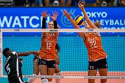 03-08-2019 ITA: FIVB Tokyo Volleyball Qualification 2019 / Netherlands, - Kenya Catania<br /> 3rd match pool F in hall Pala Catania between Netherlands - Kenya. Netherlands win 3-0 / Sharon Chepchumba Kiprono #5 of Kenia, Britt Bongaerts #12 of Netherlands, Nicole Koolhaas #22 of Netherlands