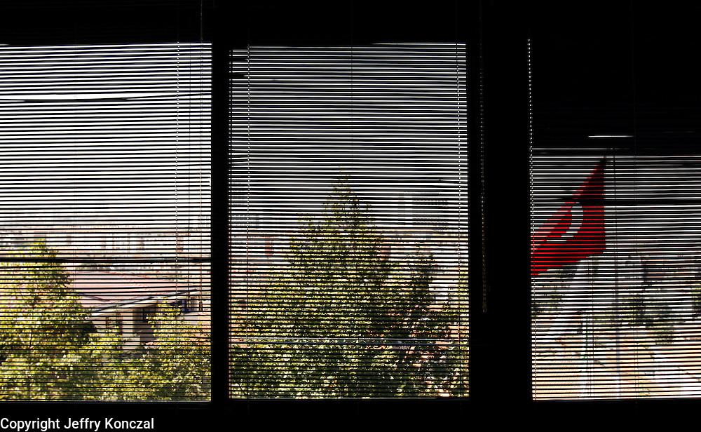 A view of a Turkish flag outside of a school window in Ankara, Turkey.