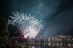 Fireworks in the sky above Maribor for the end of Festival Lent 2019, on June 29th, 2019 in Maribor, Slovenia. Photo by Milos Vujinovic / Sportida