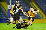 Wycombe. Buck's ENGLAND, Causeway Stadium.<br /> Zurich Premiership 11-11-2001<br /> London Wasps v Newcastle Falcons<br /> Gary Armstrong with ball is tackle by Mike Friday  [Mandatory Credit;Peter SPURRIER/Intersport Image]