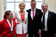 Warsaw, Poland - 2017 March 31: (C) First Lady Agata Kornhauser-Duda poses to the picture with (R) Przemyslaw Smialkowski and (2R) Damian Kuras both form Kancelaria PR and (L) Special Olympics Athlete while meeting with Special Olympics Athletes at Polish President's Palace on March 31, 2017 in Warsaw, Poland.<br /> <br /> Mandatory credit:<br /> Photo by © Adam Nurkiewicz / Mediasport<br /> <br /> Adam Nurkiewicz declares that he has no rights to the image of people at the photographs of his authorship.<br /> <br /> Picture also available in RAW (NEF) or TIFF format on special request.<br /> <br /> Any editorial, commercial or promotional use requires written permission from the author of image.<br /> <br /> Image can be used in the press when the method of use and the signature does not hurt people on the picture.