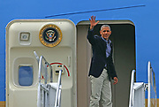 President Obama waves goodbye after a short visit to Seattle at Seatac International Airport, Saturday June 25, 2016.