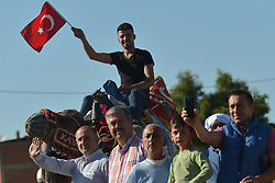 October 13, 2017 - Marmaris, Turkey - Members of the public and supporters during the fourth stage - the 204.1 km Turkish Airlines Marmaris to Selcuk stage of the 53rd Presidential Cycling Tour of Turkey 2017..On Friday, 13 October 2017, in Marmaris, Turkey. (Credit Image: © Artur Widak/NurPhoto via ZUMA Press)