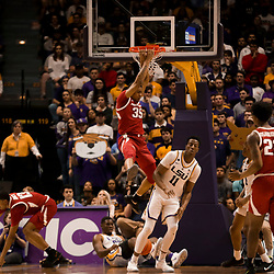 Feb 2, 2019; Baton Rouge, LA, USA; Arkansas Razorbacks forward Reggie Chaney (35) dunks against the LSU Tigers during the second half at the Maravich Assembly Center. Mandatory Credit: Derick E. Hingle-USA TODAY Sports