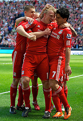 01.05.2011, Anfield, Liverpool, ENG, PL, Liverpool FC vs Newcastle United FC, im Bild Liverpool's Luis Alberto Suarez Diaz celebrates scoring his side's third goal against Newcastle United with team-mates John Flanagan and Dirk Kuyt during the Premiership match at Anfield<br /> <br /> ***NETHERLANDS ONLY***