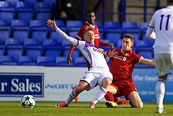 BIRKENHEAD, ENGLAND - Wednesday, November 1, 2017: Liverpool's Liam Conor Masterson and NK Maribor's Juš Štusej during the UEFA Youth League Group E match between Liverpool and NK Maribor at Prenton Park. (Pic by David Rawcliffe/Propaganda)