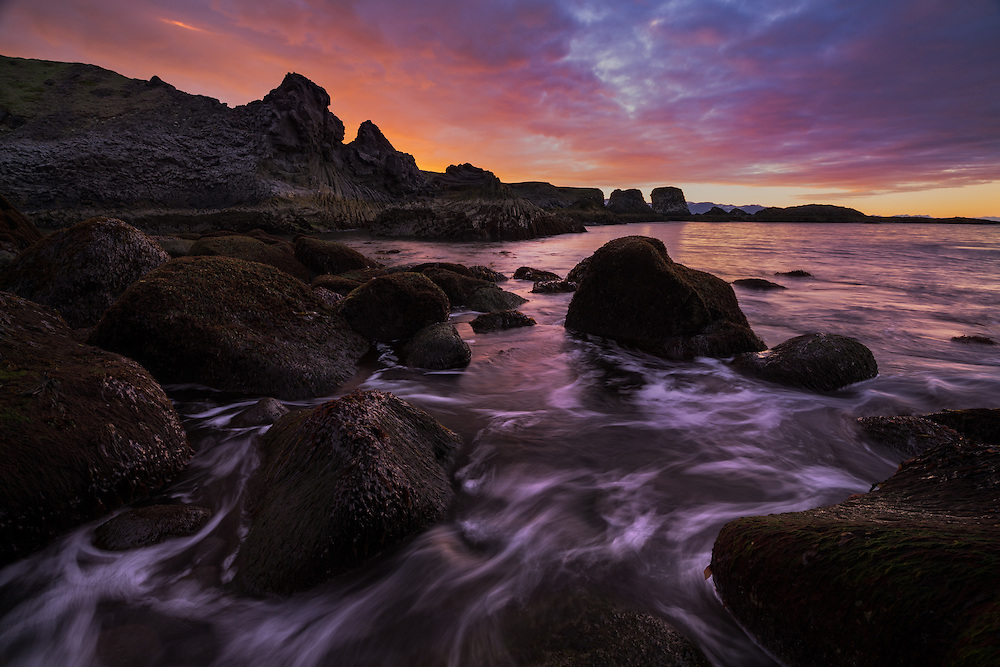 Dramatic sunrise along the rocky west coast of Iceland, Arnarstapi, Iceland