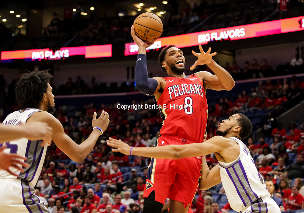 Oct 19, 2018; New Orleans, LA, USA; New Orleans Pelicans center Jahlil Okafor (8) shoots over Sacramento Kings forward Skal Labissiere (7) during the fourth quarter at the Smoothie King Center. The Pelicans defeated the Kings 149-129. Mandatory Credit: Derick E. Hingle-USA TODAY Sports