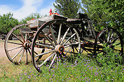 A wooden wagon at Agua Linda Farm, all natural, organic growers, Amado, Arizona, USA.