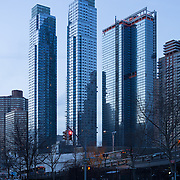Silver Towers ,New York's premier no fee rental apartments photographed in mid-March around sundown.