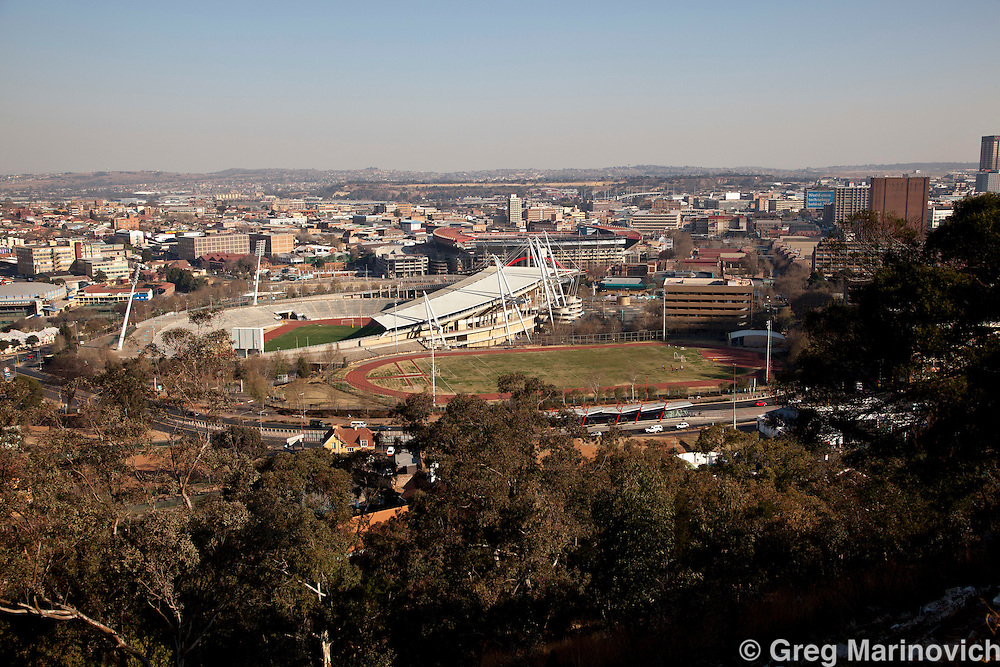 View of Ellis Park and Johannesburg staiums from Yeoville ridge, Johannesburg. August 12, 2010. Photo Greg Marinovich / StoryTaxi.com