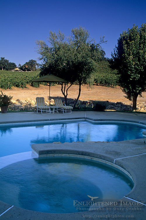 Pool at Justin Vineyards & Winery, Chimney Rock Road, Paso Robles, San Luis Obispo County, California