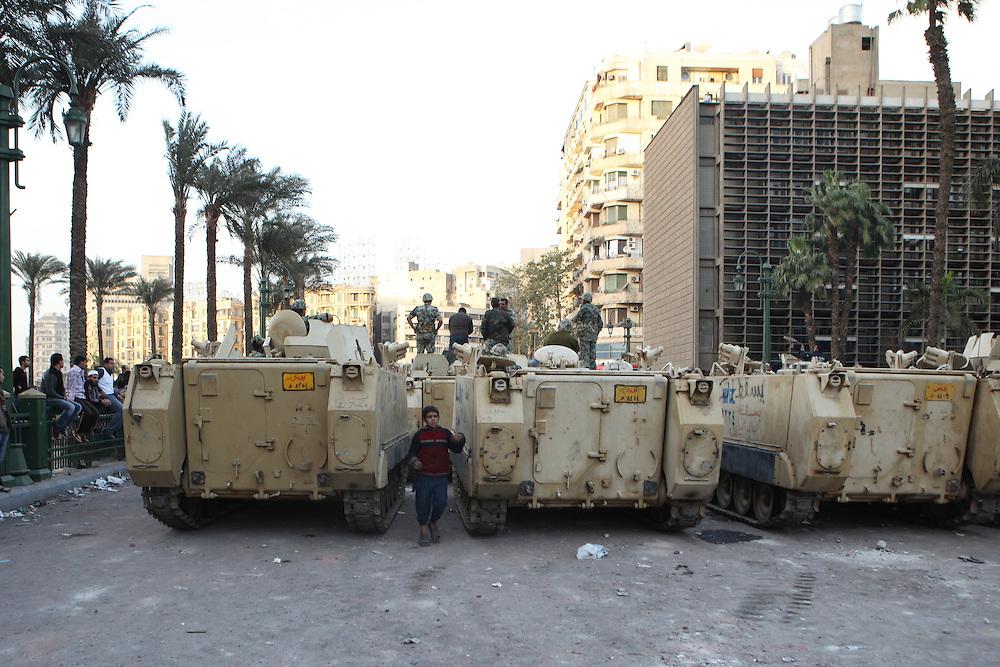The Egyptian army near Tahrir Square.