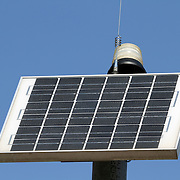 A closeup of a solar panel that provides electricity to an emergency call phone at Richard DeKorte Park, Meadowlands, Lyndhurst, New Jersey, USA