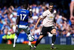Diogo Dalot of Manchester United takes on Idrissa Gueye of Everton - Mandatory by-line: Robbie Stephenson/JMP - 21/04/2019 - FOOTBALL - Goodison Park - Liverpool, England - Everton v Manchester United - Premier League