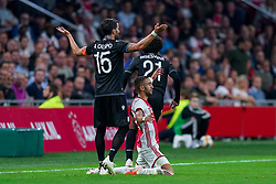 13-08-2019 NED: UEFA Champions League AFC Ajax - Paok Saloniki, Amsterdam<br />  Ajax won 3-2 and they will meet APOEL in the battle for a group stage spot / Hakim Ziyech #22 of Ajax, Jose Angel Crespo #15 of PAOK