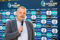 Aleks Stolfa, tournament director during presentation of VW Volkswagen car company as an official mobility partner of Futsal EURO 2018 in Ljubljana, Slovenia, on September 28, 2017. Photo by Vid Ponikvar / Sportida