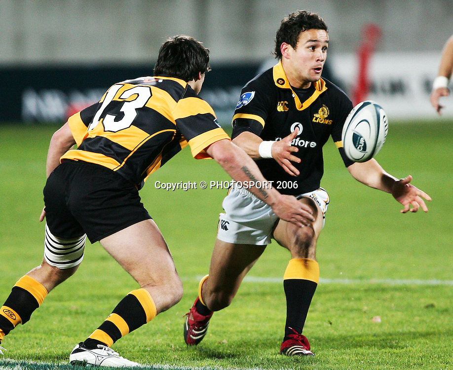 Wellington second five Tamati Ellison passes the ball during the Air New Zealand Cup week 1 rugby match between Genesis Taranaki and Wellington held at Yarrows Stadium in New Plymouth, New Zealand on Saturday 29 July 2006. Photo: Tim Hales/PHOTOSPORT