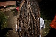 Young boy with long dreadlocks at Zion Train Lodge in Shashemene.  Ethiopia.