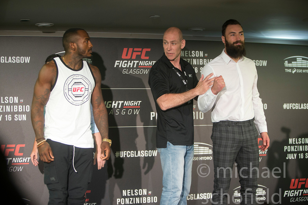 Scot Paul Craig (white shirt)  – UFC light heavyweight with Khalil Rountree – UFC light Heavyweight. UFC FIGHT NIGHT: ULTIMATE MEDIA DAY, Castle, Crowne Plaza Glasgow,
