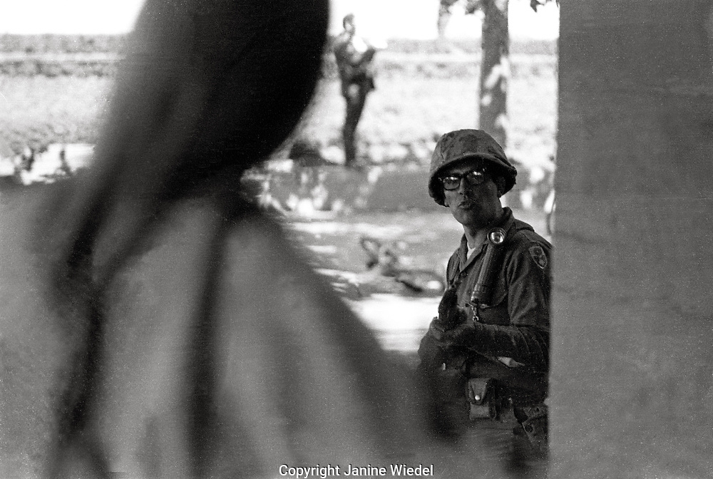 Students faced riffles and bayonets when Governor Reagan sent US National guard in to battle protesters over Peoples Park at University of California in Berkeley 1969