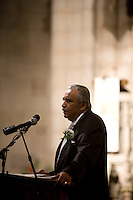 28 July, 2008. Harlem, New York. Congressman Charles Charles Rangel gives a tribute speech for Barbara Ann Teer at the Riverside Church in Harlem. Barbara Ann Teer, born in 1937 and Founder and CEO of the National Black Theater, died on Monday July 21st of natural causes, said her daughter Safe Lythcott. She was 71. in 1967 Barbara Ann Teer left behind a her career as a dancer and actor who appeared frequently in New York productions, on Broadway and off. Tired of being offered stereotypical roles by white producers and became an advocate for black artists and a black culture independent of the white-dominated mainstream. In 1968 she founded the National Black Theater, an institution dedicated to the performing arts, community, advocacy and the appreciation, of the history and lifestyle of black Americans. The building is located on 125th street and 5th avenue, in Harlem, New York. <br /> <br /> ©2008 Gianni Cipriano for The New York Times<br /> cell. +1 646 465 2168 (USA)<br /> cell. +39 328 567 7923 (Italy)<br /> gianni@giannicipriano.com<br /> www.giannicipriano.com