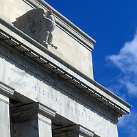 Detail of the entrance to the U.S. Federal Reserve in Washington, DC.