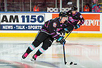 KELOWNA, BC - SEPTEMBER 21:  Sean Comrie #3 of the Kelowna Rockets warms up with the puck against the Spokane Chiefs at Prospera Place on September 21, 2019 in Kelowna, Canada. (Photo by Marissa Baecker/Shoot the Breeze)