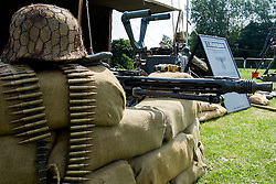 Cleethorpes 2015 2nd MG42 behind sand bags mounted on Lafayette Tripod in the heavy machine gun role <br /> <br /> August 2015<br />  Image &copy; Paul David Drabble <br />  www.pauldaviddrabble.co.uk