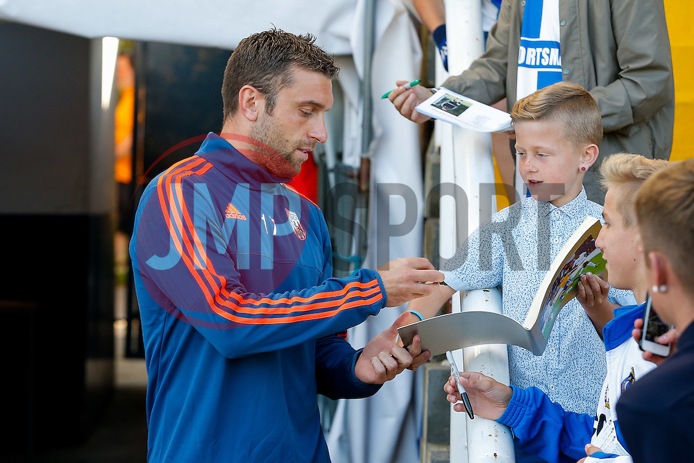 Rickie Lambert of West Brom, who only today completed his transfer from Liverpool, signs autographs for Bristol Rovers fans - Mandatory byline: Rogan Thomson/JMP - 07966 386802 - 31/07/2015 - FOOTBALL - Memorial Stadium - Bristol, England - Bristol Rovers v West Bromwich Albion - Phil Kite Testimonial Match.