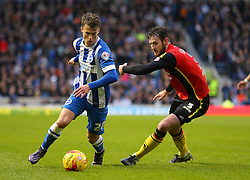 Solly March of Brighton and Hove Albion is challenged by Jonathan Grounds of Birmingham City - Mandatory byline: Paul Terry/JMP - 28/11/2015 - Football - Falmer Stadium - Brighton, England - Brighton v Birmingham City - Sky Bet Championship