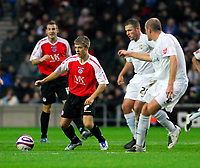 Photo: Leigh Quinnell/Sportsbeat Images.<br /> Milton Keynes Dons v Chesterfield. Coca Cola League 2. 24/11/2007. Chesterfields Jamie Ward looks for a way through the MK Dons defence.