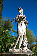 Stone statue at Achilleion Palace, Museo Achilleio, in Corfu, Greece