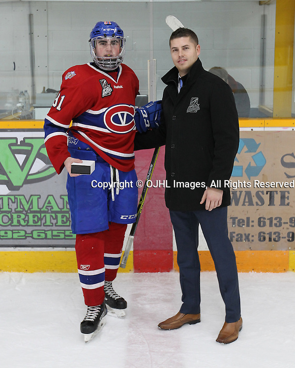 TRENTON, ON  - JAN 24,  2017: Ontario Junior Hockey League game between the Toronto Patriots and the Orangeville Flyers at the 2017 Winter Showcase. Brandon Nadeau #91 of the Kingston Voyageurs receives the player of the game ward from Brent Garbutt Director of Hockey Operations OJHL.<br /> (Photo by Tim Bates / OJHL Images)