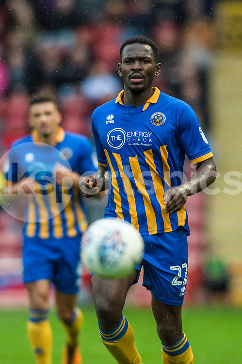 Aristote Nsiala in action during the EFL Sky Bet League 1 match between Walsall and Shrewsbury Town at the Banks's Stadium, Walsall, England on 7 October 2017. Photo by Darren Musgrove.