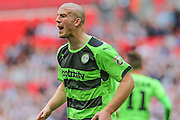 Forest Green's Charlie Clough during the Conference Premier Final match between Forest Green Rovers and Grimsby Town FC at Wembley Stadium, London, England on 15 May 2016. Photo by Shane Healey.