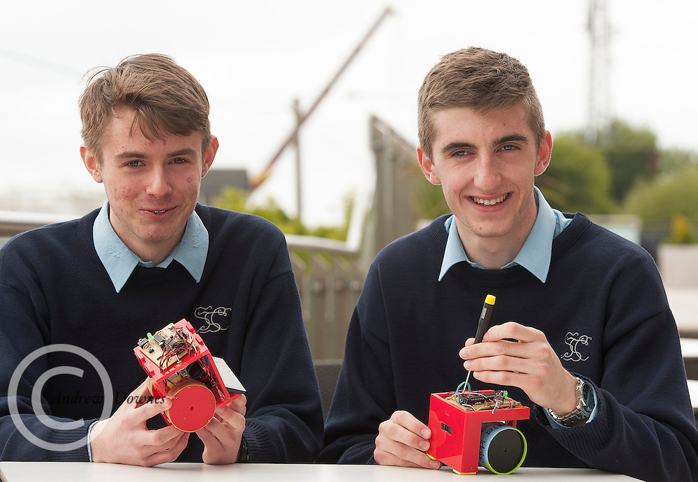 01/05/2015  repro free David Corley, Conor Geraghty, from St Gerard's Castlebar Co Mayo at the Irish Robotics Championship with over 450 second level students supported by EA Games organised by the Galway Education centre. Photo:Andrew Downes: XPOSURE