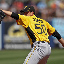 February 26, 2011; Port Charlotte, FL, USA; Pittsburgh Pirates starting pitcher Charlie Morton (50) during a spring training exhibition game against the Tampa Bay Rays at Charlotte Sports Park.  Mandatory Credit: Derick E. Hingle