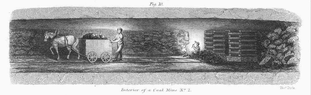 Underground scene in a coal mine, showing miner winning coal, while a wagon full of coal is being hauled along rails to the bottom of the pit shaft by a pony. Engraving 1862.