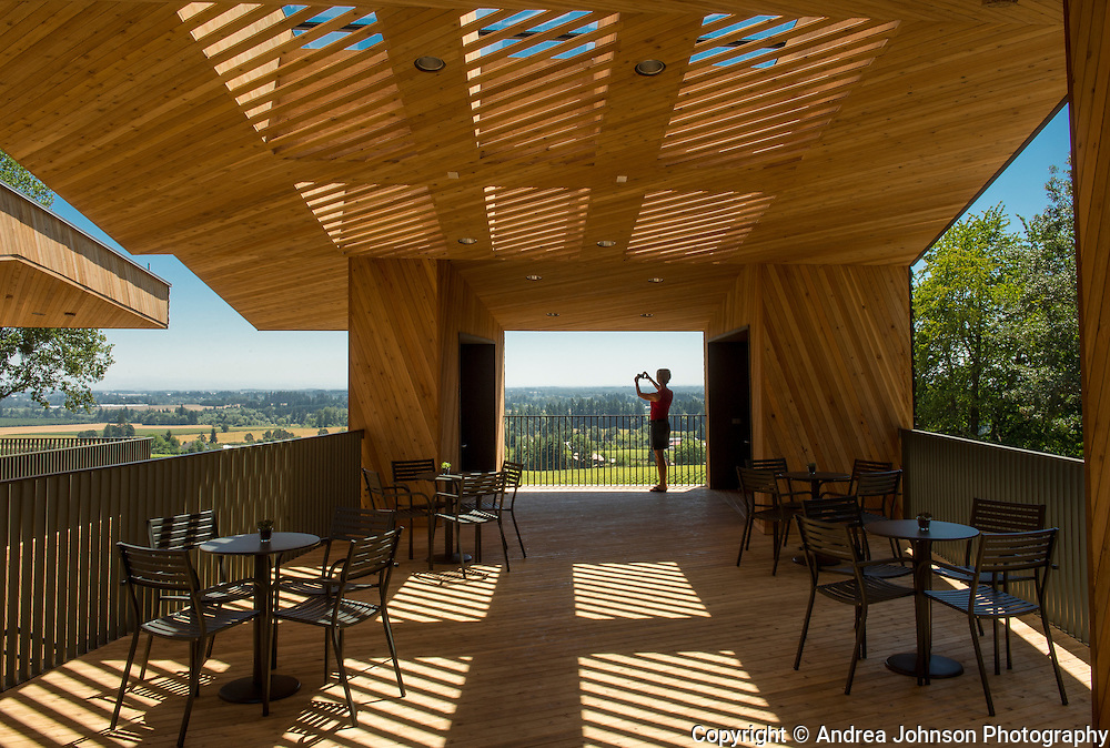 Sokol Blosser's Terrace, exclusive to the Cellar Club, where members tastings while taking in Oregon wine country's Willamette Valley and Dundee Hills during the summer months,  Willamette Valley, Oregon