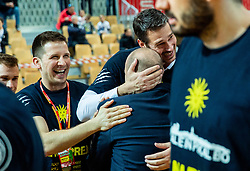 Matej Avanzo and Jurica Golemac, head coach of Sixt Primorska celebrate after winning during basketball match between KK Sixt Primorska and KK Hopsi Polzela in final of Spar Cup 2018/19, on February 17, 2019 in Arena Bonifika, Koper / Capodistria, Slovenia. KK Sixt Primorska became Slovenian Cup Champion 2019. Photo by Vid Ponikvar / Sportida