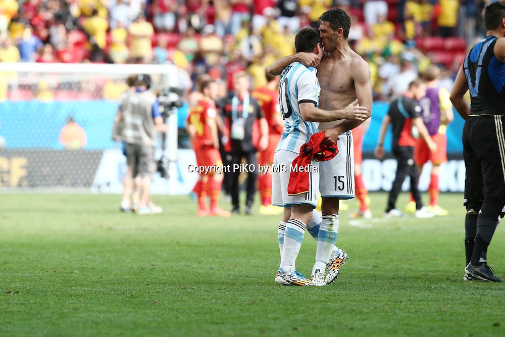 Fifa Soccer World Cup - Brazil 2014 - <br /> ARGENTINA (ARG) Vs. BELGIUM (BEL) - Quarter-finals - Estadio Nacional Brasilia -- Brazil (BRA) - 05 July 2014 <br /> Here Argentine players celebrating after winning the match<br /> Lionel Messi and Martin Demichelis<br /> &copy; PikoPress
